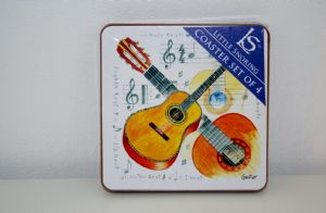 Set of 4 Musical Theme Drinks Coasters. Piano Guitar or Violin